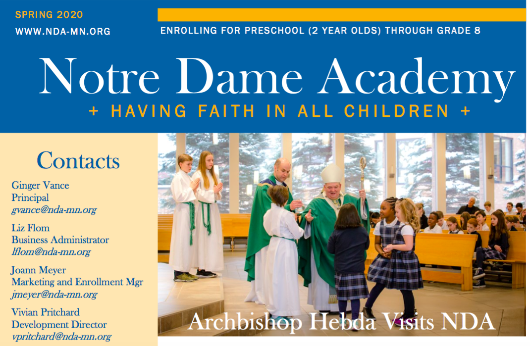 Nda Newsletter April 2020 Notre Dame Academy